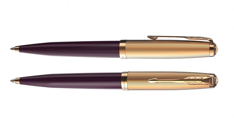 Шариковая ручка Parker 51 DELUXE PLUM GT, цвет чернил черный