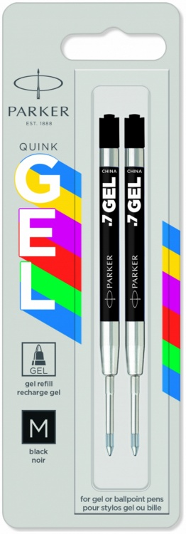 Стержень гелевый Parker Quink Gel, цвет Black, толщина линии M (0.7), в блистере 2 шт.