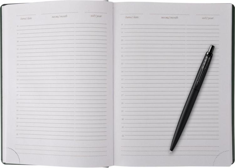 Подарочный набор Parker: черный ежедневник и черная шариковая ручка Parker IM Black Edition, цвет чернил синий