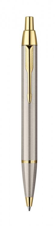 Шариковая ручка Parker IM Metal, K223, цвет: Brushed Metal GT, стержень: черный