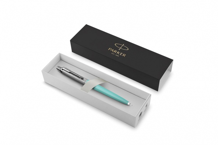 Шариковая ручка Parker Jotter K60, цвет мятный (Tiffany), цвет чернил синий, толщина линии F, в подарочной коробке