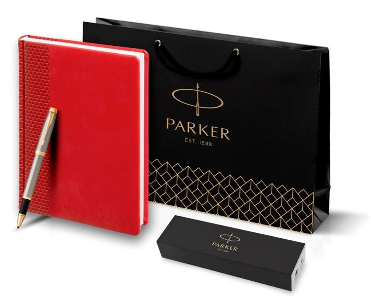 Подарочный набор: Ежедневник недатированный RED и Ручка-роллер Parker IM Metal, T223, цвет: Brushed Metal GT