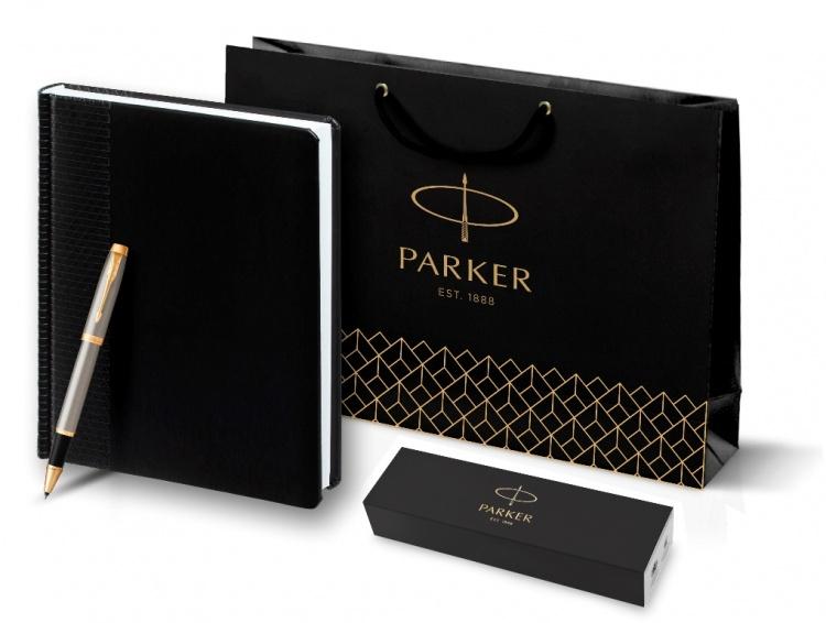 Подарочный набор: Ежедневник недатированный и Ручка-роллер Parker IM Metal, T223, цвет: Brushed Metal GT