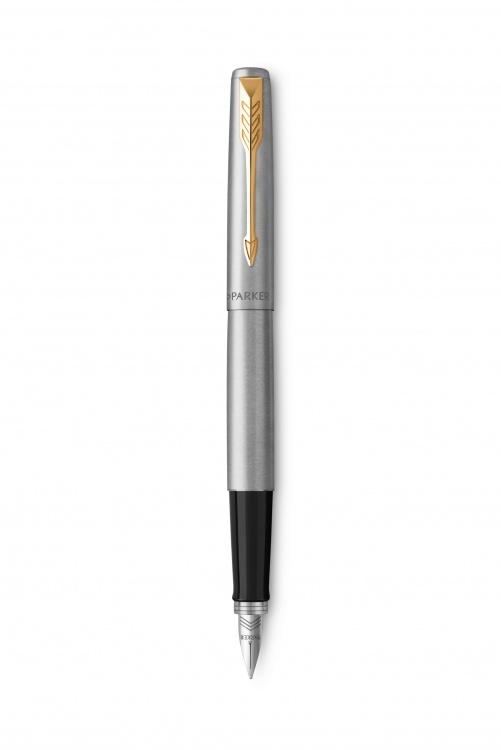 Подарочный набор: Ручка перьевая Parker Jotter Stainless Steel GT и Ежедневник золотистый недатированный