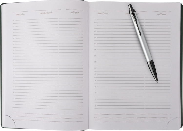 Подарочный набор: Шариковая ручка Parker PK IM MGREY BT , стержень Mblue в подарочной упаковке и Ежедневник  недатированный черный
