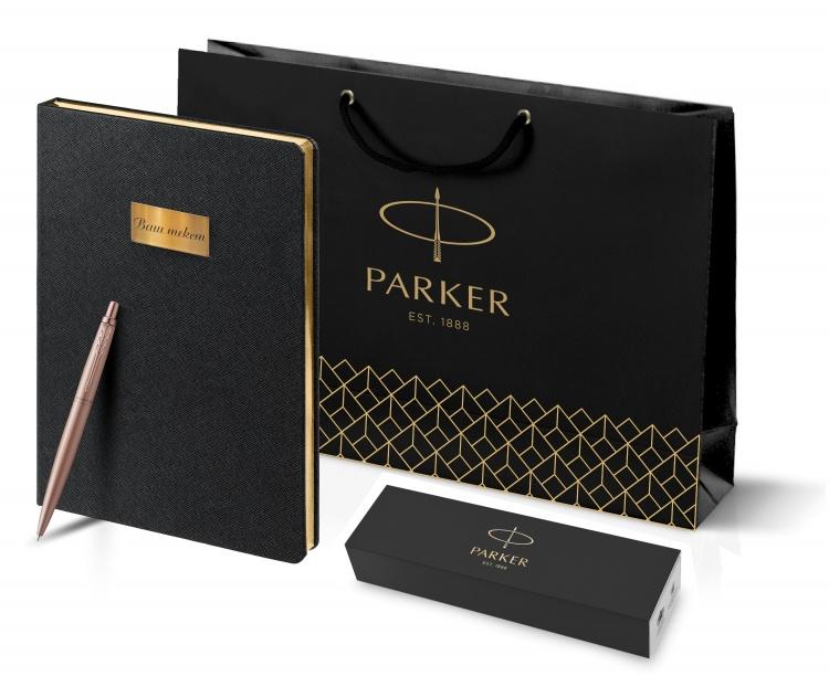Подарочный набор: Jotter XL SE20 Monochrome в подарочной упаковке, цвет: Pink Gold, стержень Mblue и Ежедневник недатированный черный с золотис