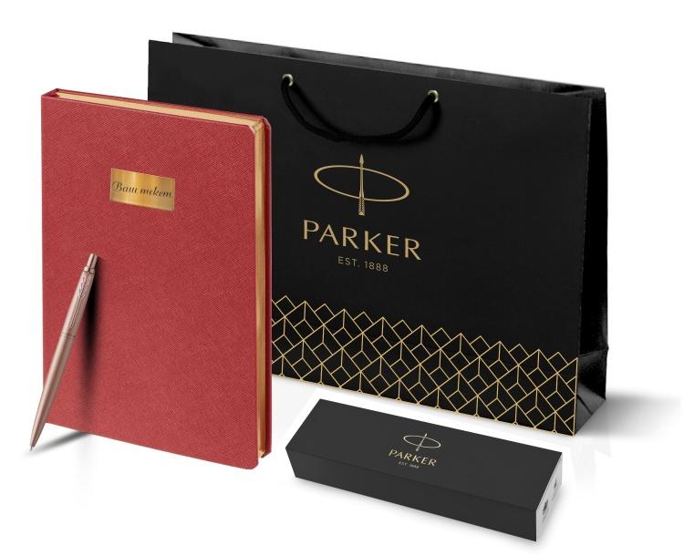 Подарочный набор:  Jotter XL SE20 Monochrome в подарочной упаковке, цвет: Pink Gold, стержень Mblue и Ежедневник недатированный красный