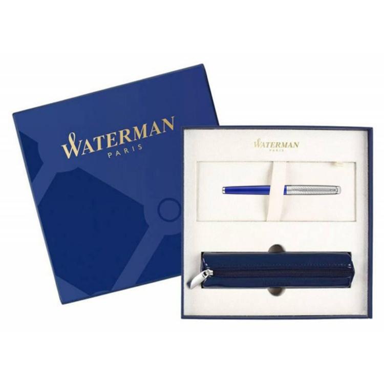 Подарочный набор Перьевая ручка Waterman GRADUATE ALLURE, цвет: черный, перо: F с чехлом на молнии