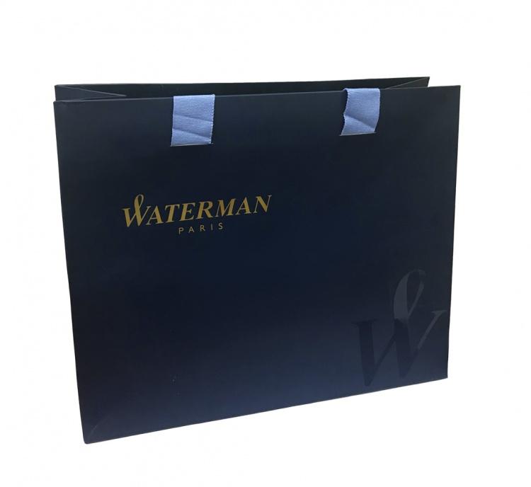 Подарочный набор Ручка роллер Waterman Embleme цвет GREY CT, цвет чернил: черный с чехлом Waterman