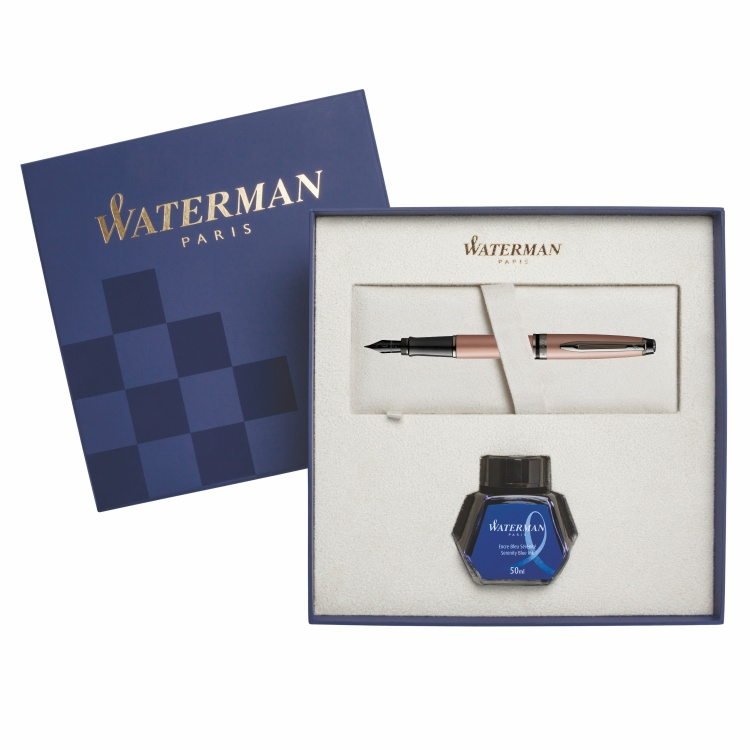 Подарочный набор Перьевая ручка WatermanExpert Rose Gold F BLK в подарочной упаковке с чернилами