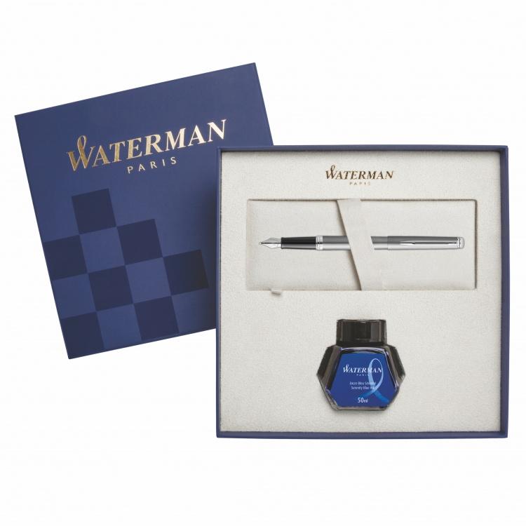 Подарочный набор Перьевая ручка Waterman Hemisphere Entry Point Stainless Steel matte в подарочной упаковке с чернилами