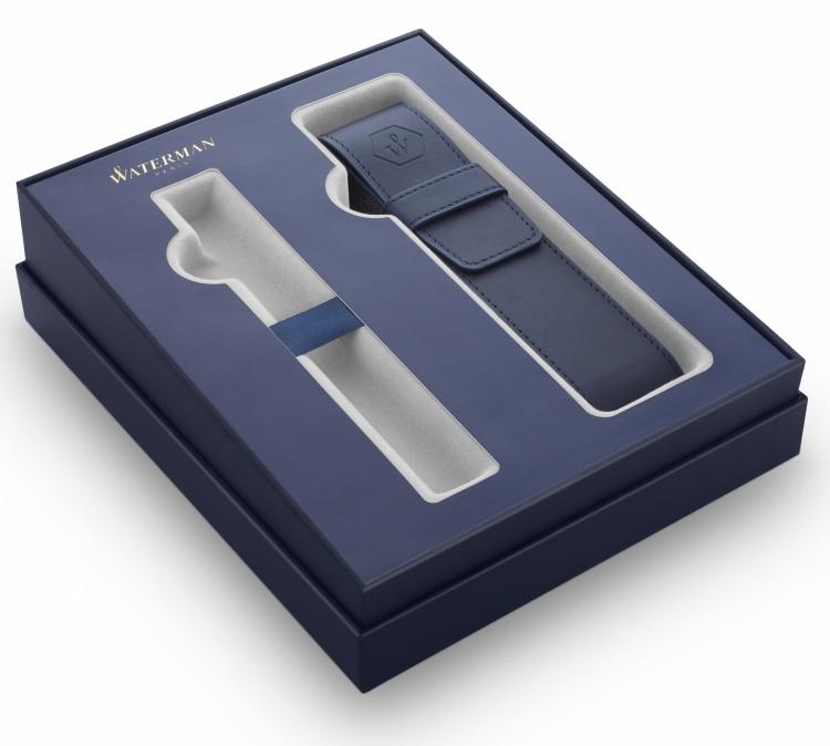 Подарочный набор  Waterman Hemisphere с перьевой ручкой и чехлом Stainless Steel CT перо M