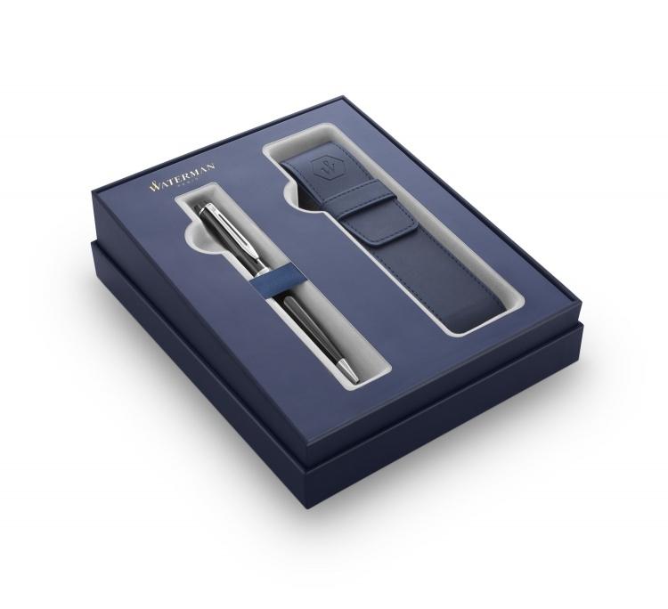 Подарочный набор Waterman Expert с шариковой ручкой и чехлом Black CT, толщина линии M, чернила синие