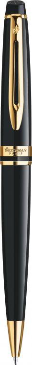 Шариковая ручка Waterman Expert, цвет: Black Laque GT, стержень: Mblue