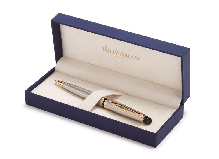 Шариковая ручка Waterman Expert 3, цвет: Stainless Steel GT, стержень: Mblue