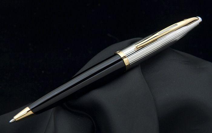 Шариковая ручка Waterman Carene De Luxe, цвет: Black/Silver, стержень: Mblue