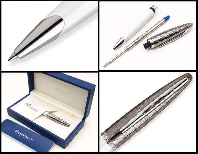 Шариковая ручка Waterman Carene, цвет: Contemporary white ST, стержень: Mblue