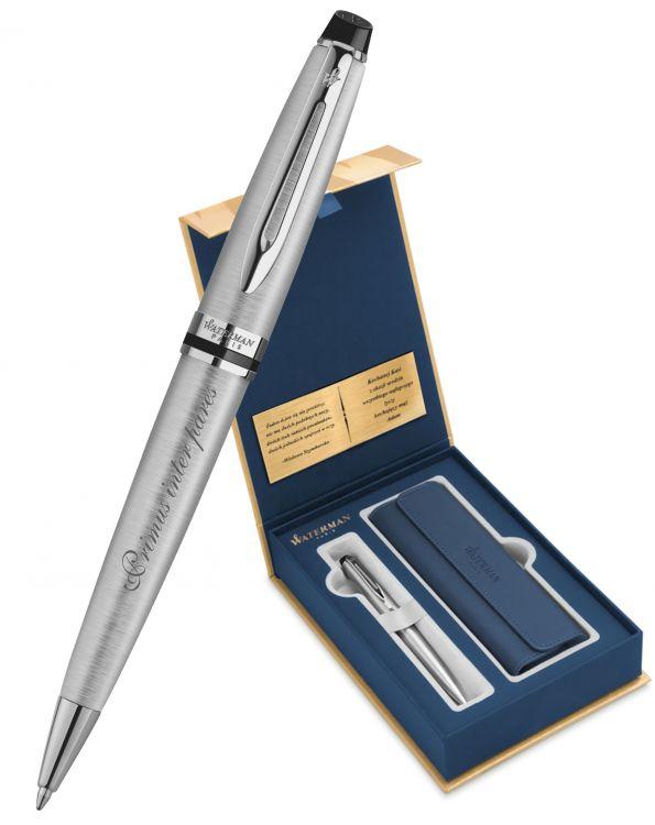 Набор с гравировкой: Чехол и Шариковая ручка Waterman Expert Essential, St. Steel CT