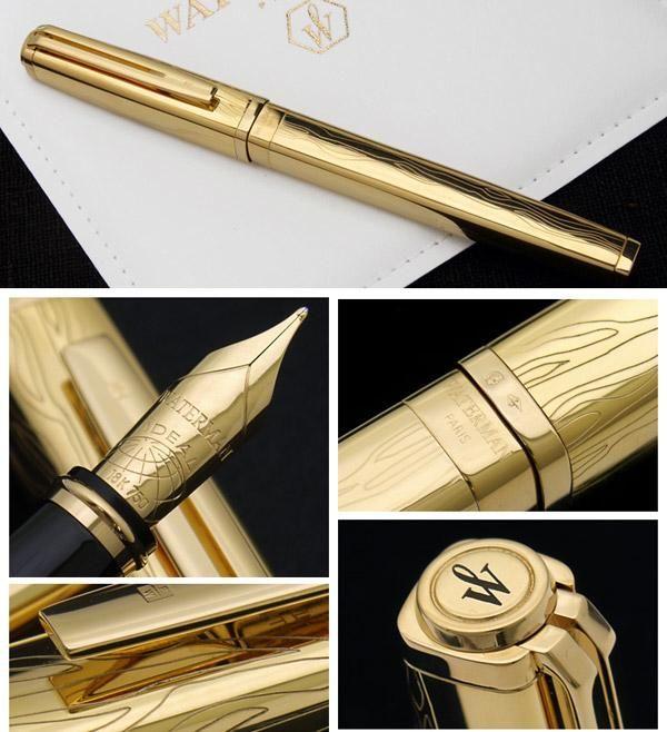 Перьевая ручка Waterman Exception Solid Gold, цвет: Gold (золото),  перо: M, перо: золото 18К