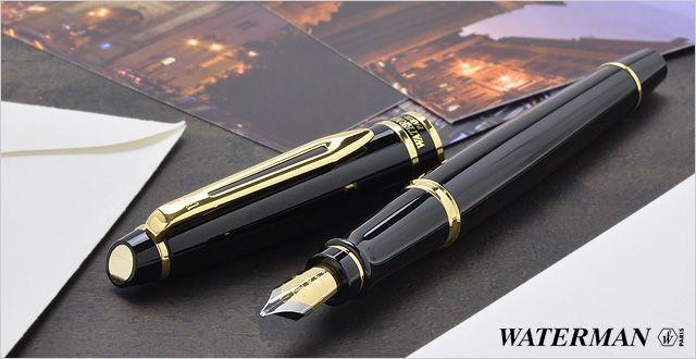 Перьевая ручка Waterman Expert 3, цвет: Black Laque GT, перо: F