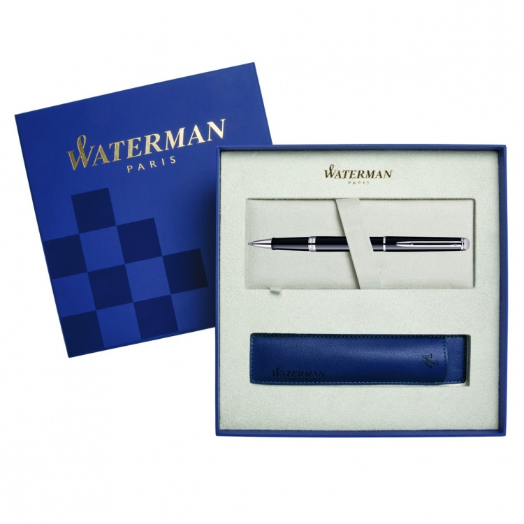 Подарочный набор Ручка-роллер Waterman Hemisphere Essential, Mars Black CT с чехлом