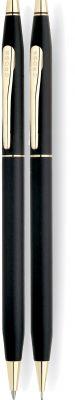 CR10S-BLK1G Cross Century Classic. Набор Cross Сentury Classic: шариковая ручка + механический карандаш 0.5мм. Цвет - черный.