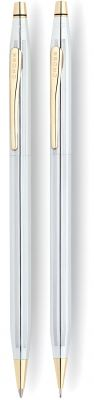 CR10S-GRY1G Cross Century Classic. Набор Cross Сentury Classic: шариковая ручка + карандаш 0.7мм. Цвет - серебристый/позолота