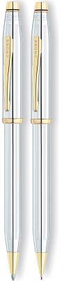 CR11S-GRY1G Cross Century II. Набор Cross Century II: шариковая ручка и карандаш 0,7мм. Цвет - серебристый/золото