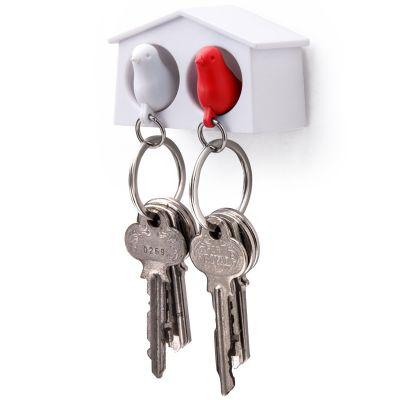 DF20161237 Qualy. Держатель+брелок для ключей двойной mini sparrow белый/красный