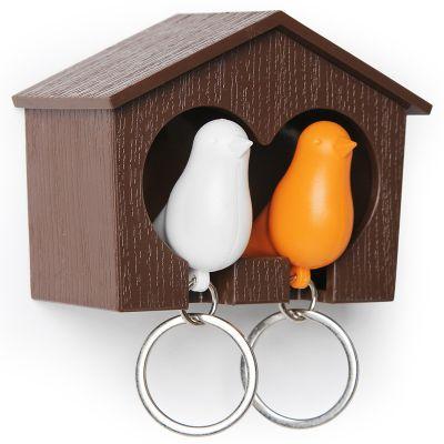 DF20161154 Qualy. Держатель+брелок для ключей двойной sparrow коричневый/белый/оранжевый