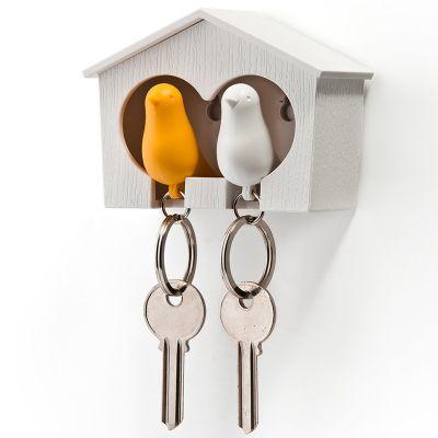 DF201611517 Qualy. Держатель+брелок для ключей двойной sparrow белый/желтый