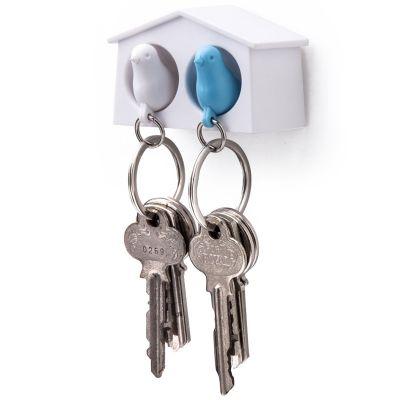 DF20161843 Qualy. Держатель+брелок для ключей двойной mini sparrow белый/голубой