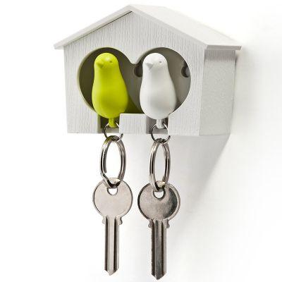 DF20161461 Qualy. Держатель+брелок для ключей двойной sparrow белый/зеленый