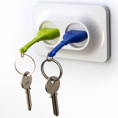 DF20161636 Qualy. Двойной брелок+держатель для ключа unplug голубой