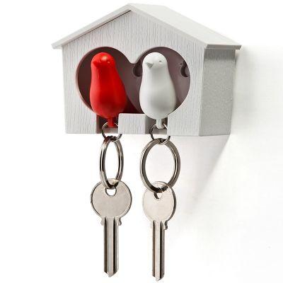 DF201611441 Qualy. Держатель+брелок для ключей двойной sparrow белый/красный