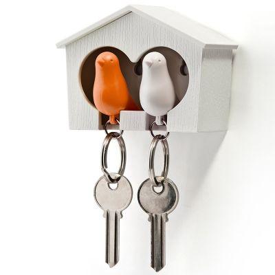 DF201611442 Qualy. Держатель+брелок для ключей двойной sparrow белый/оранж