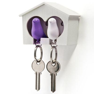 DF201611480 Qualy. Держатель+брелок для ключей двойной sparrow белый/фиолетовый