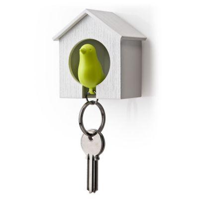 DF201611452 Qualy. Держатель+брелок для ключей sparrow белый/зеленый