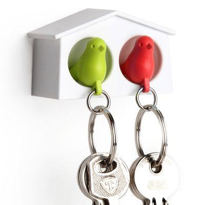 DF2016187 Qualy. Держатель+брелок для ключей двойной mini sparrow зеленый/красный