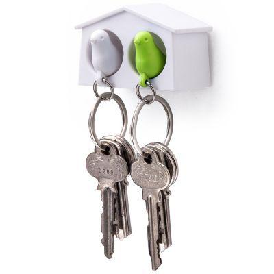DF201611227 Qualy. Держатель+брелок для ключей двойной mini sparrow белый/зеленый