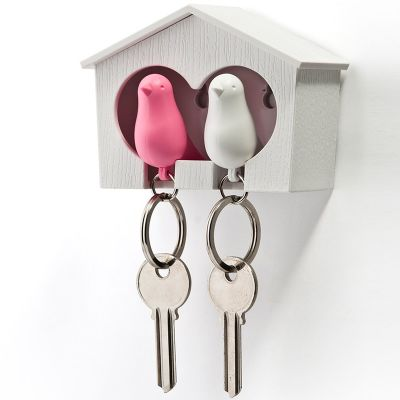 DF201611479 Qualy. Держатель+брелок для ключей двойной sparrow белый/розовый