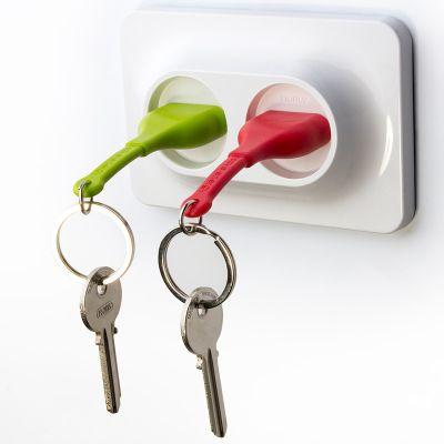DF20161637 Qualy. Двойной брелок+держатель для ключа unplug красный