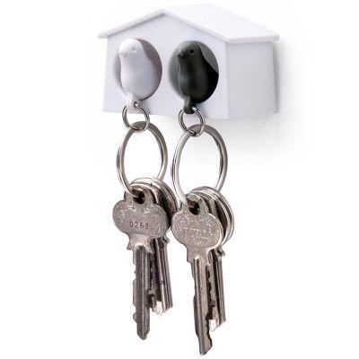 DF201611439 Qualy. Держатель+брелок для ключей двойной mini sparrow белый/черный