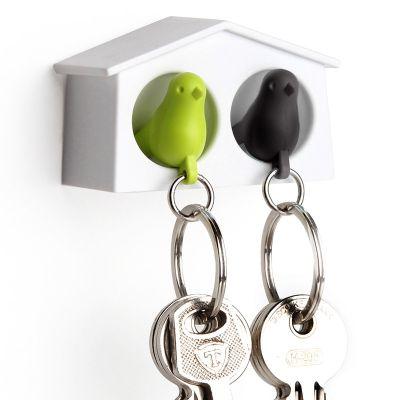 DF2016188 Qualy. Держатель+брелок для ключей двойной mini sparrow зеленый/черный