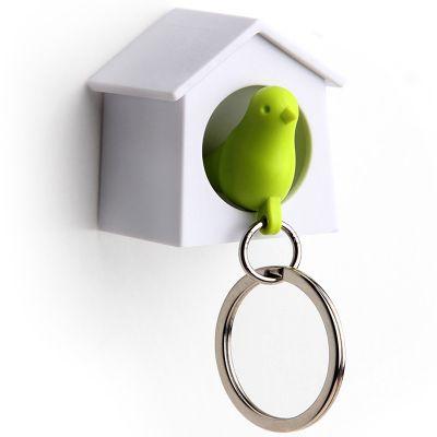 DF201611488 Qualy. Держатель+брелок для ключей mini sparrow зеленый