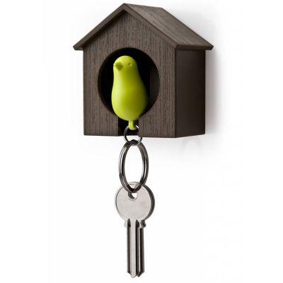 DF201611323 Qualy. Держатель+брелок для ключей sparrow коричневый/зеленый