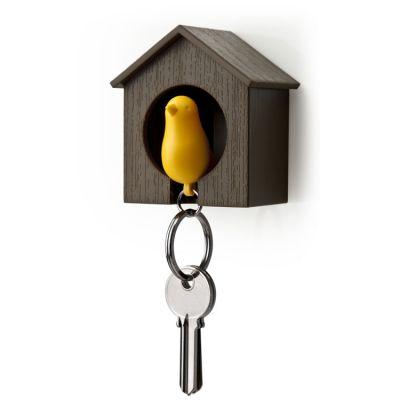 DF201611078 Qualy. Держатель+брелок для ключей sparrow коричневый/желтый