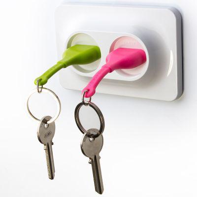 DF20161639 Qualy. Двойной брелок+держатель для ключа unplug розовый