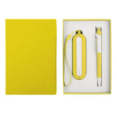 HG184061179 Набор SEASHELL-1:универсальное зарядное устройство(2000 mAh) и ручка в подарочной коробке,желтый