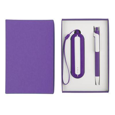 HG184061184 Набор SEASHELL-1:универсальное зарядное устройство(2000 mAh) и ручка в подарочной коробке,фиолетовый